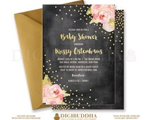 CHALKBOARD & ROSES BABY Shower Invitation Gold Glitter Burst Sparkle Printable Peony Peonies Baby Girl Invite Free Shipping or DiY- Krissy