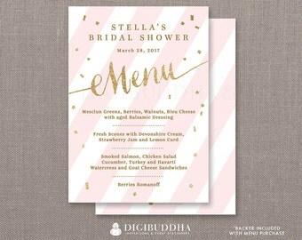 Pink & Gold Menu Bridal Shower Party Menu Pink Stripes Gold Glitter Confetti Lunch Brunch Dinner Confetti DIY Printable or Printed- Stella