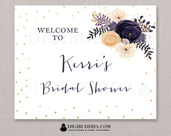 BRIDAL Shower WELCOME SIGN Boho Chic Plum Purple Watercolor Flowers Gold Glitter Dots Wedding Signage Printable Confetti Sparkle - Kerri