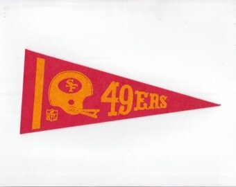Vintage San Francisco 49ers Football Team Early 1970s Era NFL Small Mini Felt Pennant Banner Flag vtg Collectible Vintage Display Sports