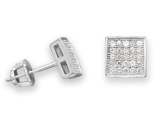 MEN'S Rhodium Plated Square Pave CZ Stud Post Earrings - 925 Sterling Silver