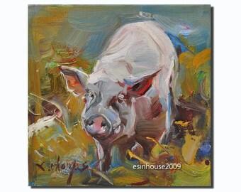 Western pig portrait Original oil Painting  on canvas panel 15CMX15CM