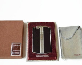 vintage Ronson tuxedo lighter cigarette case 1930s