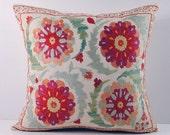 Handmade Suzani Pillow Cover msp12-46, Suzani Pillow, Uzbek Suzani, Suzani Throw, Boho Pillow, Suzani, Decorative pillows, Accent pillows