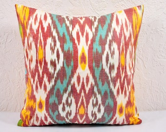 Ikat Pillow, Hand Woven Ikat Pillow Cover  spi507, Ikat throw pillows, Designer pillows, Decorative pillows, Accent pillows