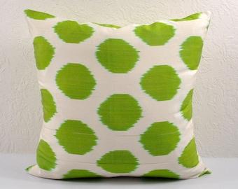Green Polka Dot Ikat Pillow cover, Ikat Pillow , A315, Ikat throw pillows, Designer pillows, Decorative pillows, Accent pillows