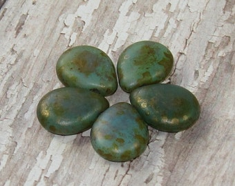 Peridot Green 12x16mm Czech Glass Bead Pear Shaped Teardrop Copper Picasso PRICKLY PEAR (6)