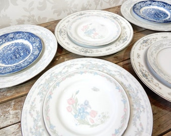 Mismatched Dinner Plates, Silver, blue & gray, and Bread Plates, setting for 5,  Bone China, 10 pieces in total