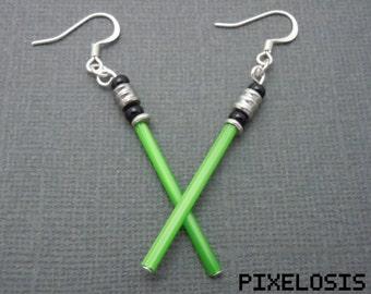Glowy Green Lightsaber Earrings, Star Wars Jewelry, Luke Skywalker, Jedi, Yoda, Handmade, Starwars, Star Wars Art, Star Wars Costume, Geeky