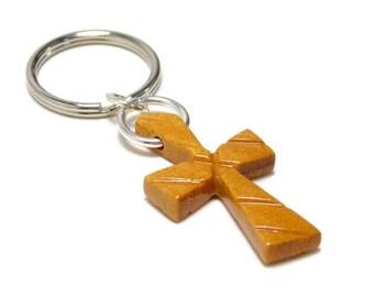 Mens Cross Keychain, Wooden Cross Keychain, Cross Key Ring, Mens Keychains, Boyfriend Gift, New Driver Gift, Graduation Gifts