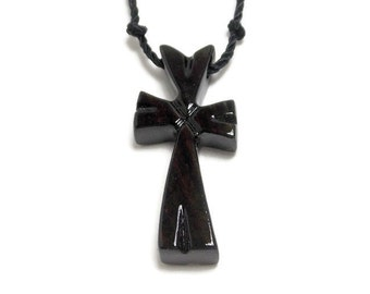 Cross Necklace - Wood Cross Pendant - Striped Ebony - Jewelry for Men - Gifts Under 20