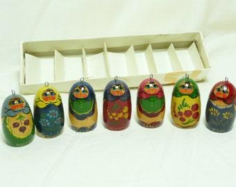 Vintage Russian Hand Painted Matreshka Doll Christmas Ornaments, set B