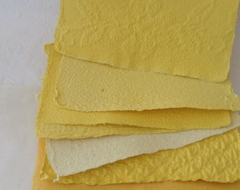 Handmade Paper - Recycled paper - yellow - textured handmade paper - acid free - mixed media collage - papermaking goods - art paper -