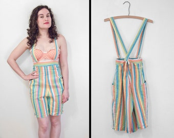 Convertible STRIPED Overalls 50s Suspender Trousers Aqua Orange Pink Blue Lemon Small