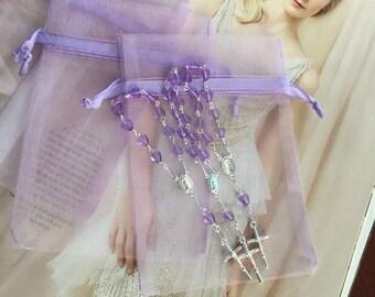 """100 min rosaries and 100 pcs Organza bags, 4"""" x 6"""" organza bag , favor bag , jewel organza bag lavender color,wholesale minirosaries,NARELO"""