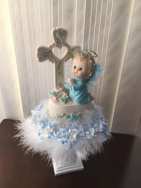 Baby angel centerpiece white and blue pedestal