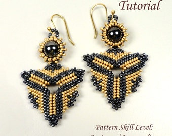 BALTHAZAR beaded earrings beading tutorial beadweaving pattern seed bead beadwork jewelry beadweaving tutorials beading pattern instructions