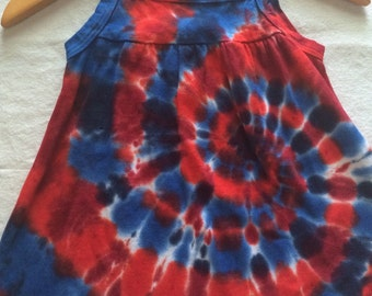 12 Month Baby Infant 4th of July Red White and Blue Tie Dye Sun Dress