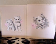 """Vintage 60's """"SILKED SCREEN PERSIAN CATs""""  Hand Painted  Signed by Artist Blue Eyed Persian Cats"""