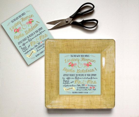 Unique wedding gift - wedding invitation plate - couples keepsake ...