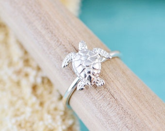 Turtle Ring, Sterling Silver Turtle Ring, Silver Sea Turtle Jewelry, Sea Life Ring, Nautical Turtle Ring, Gift For Her
