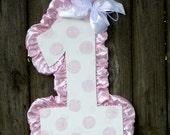 1st Birthday Door Hanger, Baby's First Birthday, Number One Birthday, 1st Birthday Decor, Pink Dots, Girls Birthday Decor