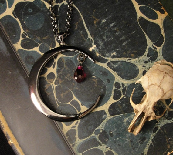 Blood Moon - Blood Moon Pendant -Moon Necklace - Gothic Jewelry- Cresent Moon Necklace -  Moon Jewelry
