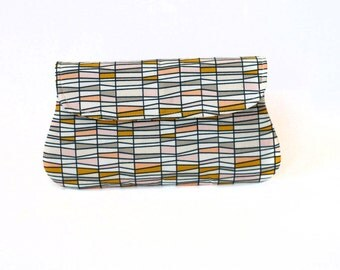 Cotton clutch purse, geometric stripes, gift for her