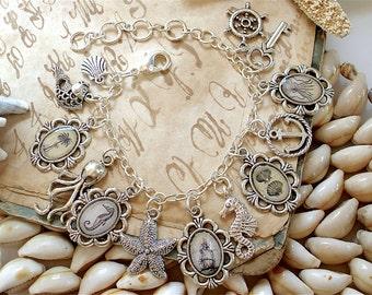 Nautical Charm Bracelet in Silver - Pirate Ship Key Anchor Seashells Octopus Seahorse Palm Trees Starfish
