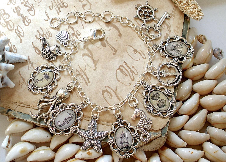 nautical charm bracelet in silver pirate ship key anchor