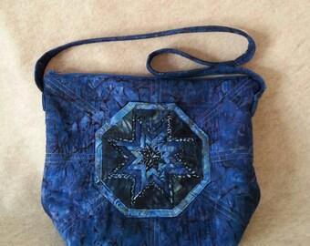 Blue batik folded star quilted zippered shoulder bag