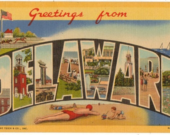 Linen Postcard, Greetings from Delaware, Horses, Beach, Sailboats, Boardwalk, Large Letter