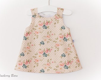A-Line Pinafore Dress: Baby Girl, - 3-6 months, handmade, vintage style print, ready to ship