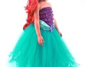 3 PIECE SET: Ready to Ship - Tutu Skirt - Teal - Mermaid Halloween or Birthday Costume - Tidal Wave Teaser - 3-4 Toddler Girl
