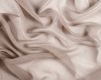 "42"" Wide 100% Silk Crinkled Chiffon Taupe by the yard"