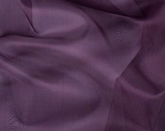 "45"" Wide 100% Silk Organza Aubergine Purple by the yard"