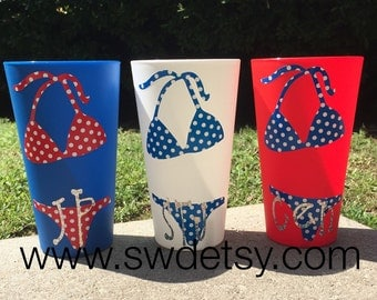 July 4th Party Cups/Tumblers, Beach, Pool, Lake Tumblers, Set of 2