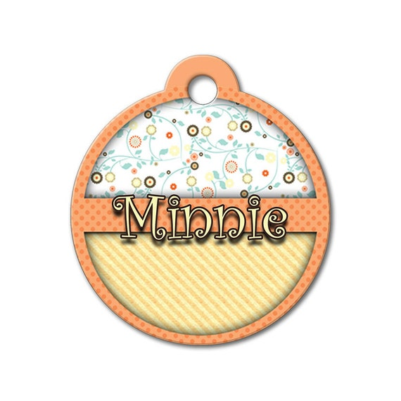 Cute Dog Tag - Wild Orange Floral Design - Personalized Pet Tags, Custom Pet Tags, Dog ID Tags, Dog Tags for Dogs, Stainless Steel ID Tag