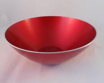 Mid Century Emalox Norway Danish Modern Red Aluminum Bowl