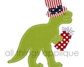 Patriotic T-Rex Applique Design - (#650) - INSTANT DOWNLOAD