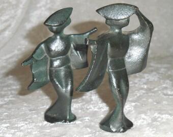 Japanese Mid Century Cast Iron Geisha Figurines, Set of 2