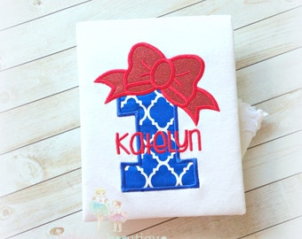 Patriotic Birthday Number with Bright Red Bow- Applique Shirt- Girl's Birthday Shirt- 4th of July Birthday- 1st 4th