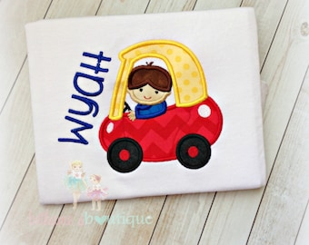 Boys red coupe car shirt - embroidered toy car shirt for boys - personalized car shirt - boy driving car - boy driving yellow and red car
