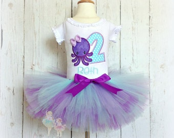 Octopus birthday outfit - 1st birthday beach themed outfit - summer birthday tutu outfit - purple and blue octopus outfit - octopus tutu