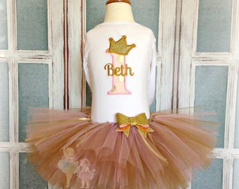 Princess 1st birthday outfit - gold and pink princess birthday tutu outfit - personalized princess tutu outfit - pink and gold tutu