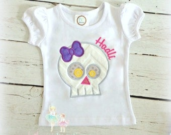 Personalized skull shirt for girls - girly skull shirt - Halloween skull girl shirt - Halloween shirt - skull with bow - embroidered shirt