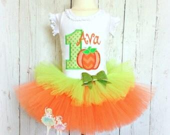 Pumpkin birthday outfit - 1st birthday pumpkin tutu outfit - Halloween birthday outfit - Thanksgiving birthday outfit - pumpkin theme