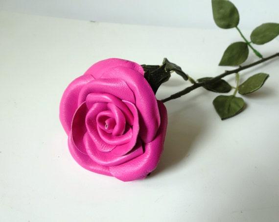 Pink  Flower Leather Rose, Wedding 3rd Anniversary Gift Long Stem Flower Valentines Day