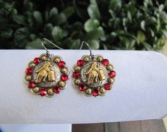 """1"""" Antique Gold Barrel Racer, Red Crystal Concho Earrings"""