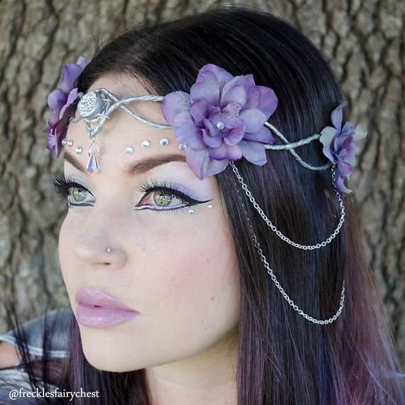 Silver And Lavender Elven Crown Headdress By